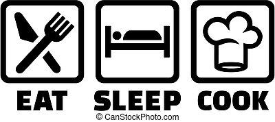 küchenchef, schlaf, essen, ikone