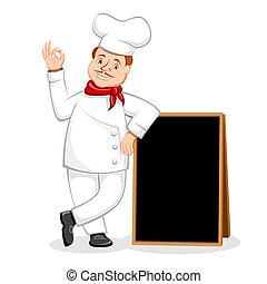 küchenchef, schwarz, posierend, brett