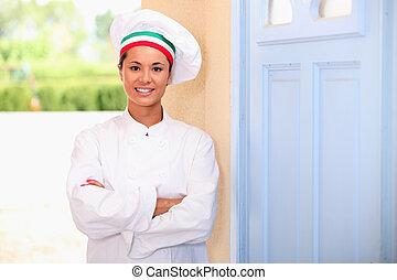küchenchef, stehende, türöffnung