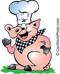 küchenchef, stehende , zeigen, schwein