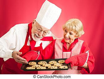 küchenchef, und, hausfrau, -, daheim, gebacken, pl�tzchen