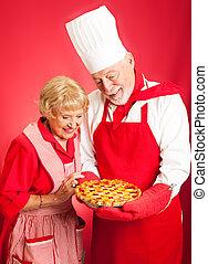 küchenchef, und, hausfrau, -, kirsch torte