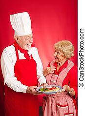 küchenchef, unterrichtet, italiener kochen, zu, hausfrau