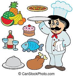 küchenchef, verschieden, karikatur, mahlzeiten