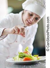 küchenchef, vorbereiten, mahlzeit