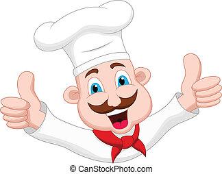küchenchef, zeichen, karikatur