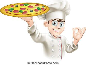 küchenchef, zeichen, okay, abbildung, pizza