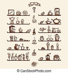 küchenutensilien, auf, regale, für, kaffee- haus, skizze,...