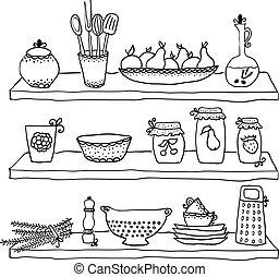 küchenutensilien, auf, regale, skizze, zeichnung