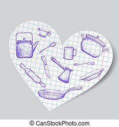 küchenutensilien, gleichfalls, gezeichnet, auf, papier, heart., gekritzel, image., bestand