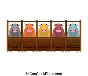 kühe, abbildung, vektor, farm., vieh, barn.