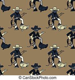 kühl, cowboy, seamless, muster