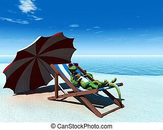 kühl, karikatur, gecko, entspannend, auf, der, strand.