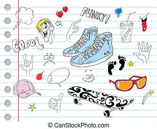 kühl, notizbuch, doodles
