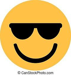 kühl, smiley, mit, sonnenbrille