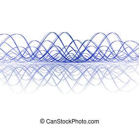 kühl, soundwave, mit, reflexion