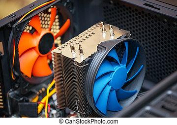 kühlcontainer, motherboard., auf, edv, schließen, ansicht., cpu
