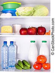 kühlschrank, voll, von, gesundes essen