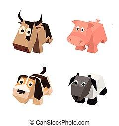 különböző, állhatatos, állatok, isometric, vektor, 3