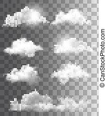 különböző, állhatatos, áttetsző, vector., clouds.