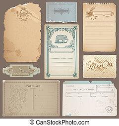 különböző, állhatatos, öreg, szüret, hangjegy, hajópapírok, vektor, kártya