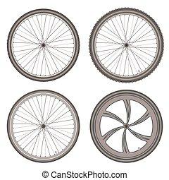 különböző, állhatatos, bicikli, vektor, háttér, tol, fehér