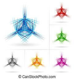 különböző, állhatatos, csillaggal díszít, ikonok