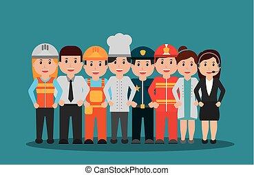 különböző, állhatatos, csoport, emberek, munkás, foglalkozás