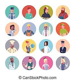különböző, állhatatos, csoport, emberek, munkás, ikonok, szellemi foglalkozás, gyűjtés, foglalkozás