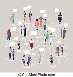 különböző, állhatatos, csoport, emberek, munkás, szellemi foglalkozás, gyűjtés, conncetion, foglalkozás