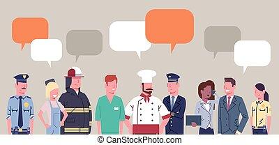 különböző, állhatatos, csoport, emberek, munkás, szellemi foglalkozás, gyűjtés, csevegés, buborék, foglalkozás