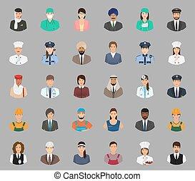 különböző, állhatatos, emberek, nagy, munkás, avatars, characters., arc, munkavállaló, occupation.