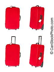 különböző, állhatatos, szög, bőrönd, felett, tiszta, négy, címke, azonosítás, white., bőrönd, piros, kilátás