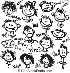 különböző, állhatatos, szöveg, handdrawn, emotions., arc, arcmás, karikatúra, kézírásos