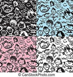 különböző, állhatatos, text., handdrawn, alkalmaz, patterns., seamless, karikatúra, arcmás, emotions., arc, hajlandó, swatch., kézírásos