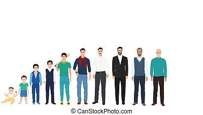 különböző, életkor, nemzedék, közül, a, férfiak, hím, person., ember, életkor, alapján, kölyök, fordíts, öreg, collection.