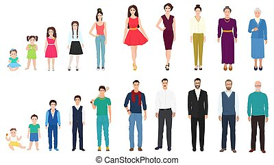 különböző, életkor, nemzedék, közül, a, hím női, person., emberek, életkor, alapján, kölyök, fordíts, old., öregedő, fogalom, alapján, gyermekkor, fordíts, öreg, age.