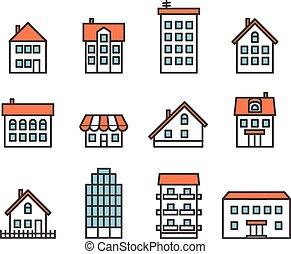 különböző, épület, körvonal, collection., tervezés elem