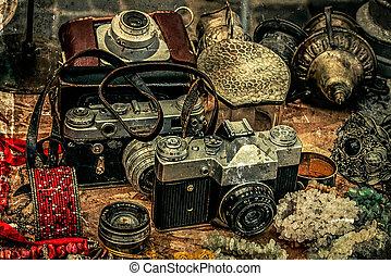 különböző, öreg, fénykép, cameras, régimódi, levelezőlapok