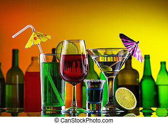 különböző, alkohol, iszik, és, koktél, képben látható, bár