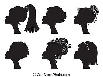 különböző, -, arc, körvonal, vektor, fekete, frizura, nők
