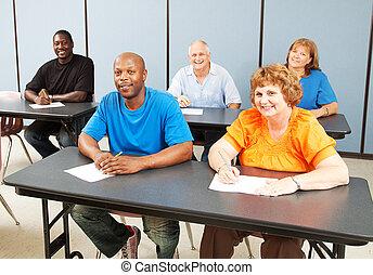 különböző, boldog, felnőtt oktatás, osztály