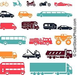 különböző, cégtábla, transportation., átnyújtás, erőforrások