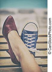 különböző, combok, cipők, nő