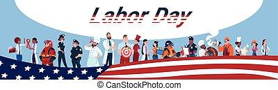 különböző, csoport, emberek, állhatatos, dolgozók, munka, elegyít, faj, transzparens, munkás, nap, foglalkozás