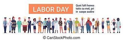 különböző, csoport, emberek, állhatatos, munka, nemzetközi, nap, foglalkozás