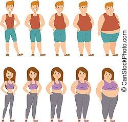 különböző, emberek, ábra, vektor, kövér, előad, karikatúra