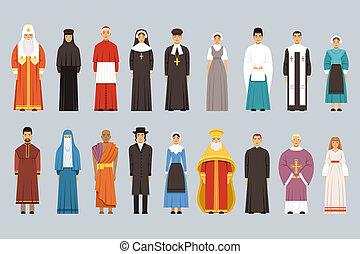 különböző, emberek, állhatatos, férfiak, hagyományos, vallás, nők, confessions, vallásos, öltözék