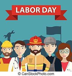 különböző, emberek, munka nap, nemzetközi, foglalkozás