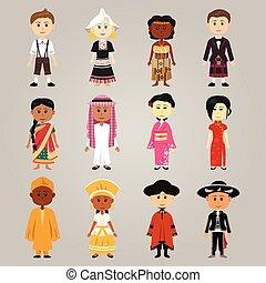 különböző, etnikai, emberek